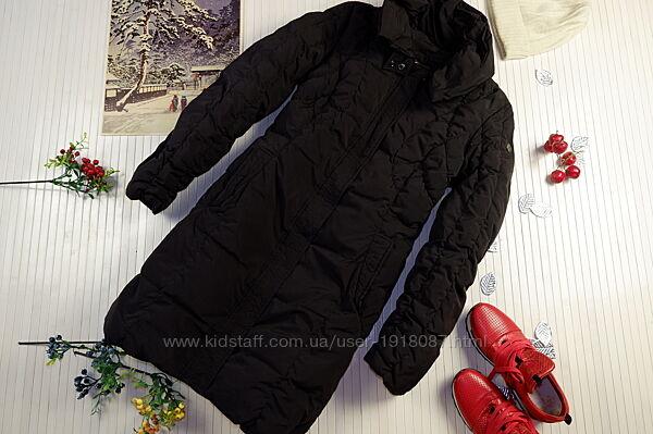 Пуховое пальто Tom Tailor Германия пуховик длинный черный стеганый матовый