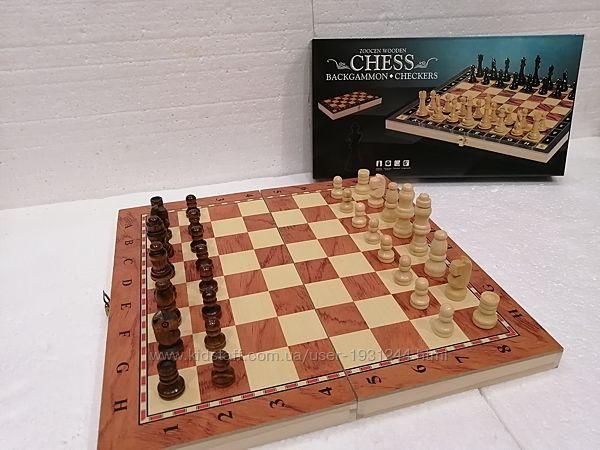 Деревянные шахматы-шашки-нарды 3-в-1