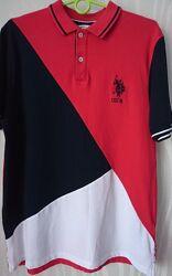 Мужская футболка цвет красный/синий/белый, размер М U. S. Polo Assn