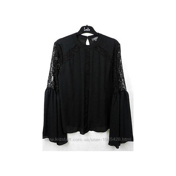 Шифоновая блуза primark с кружевом и широкими рукавами
