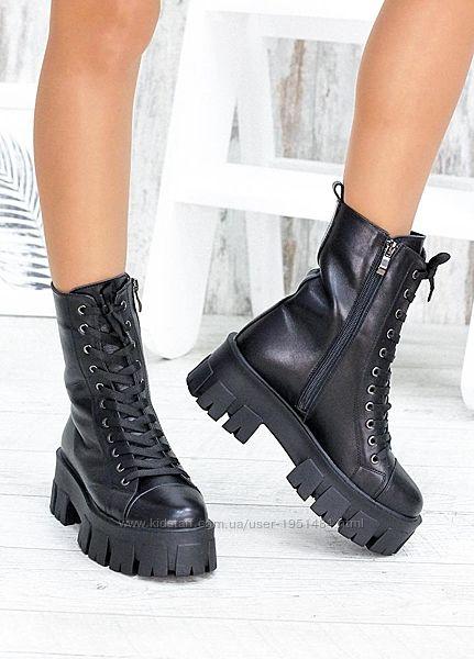 Берцы черные кожаные на платформе зима или демисезон