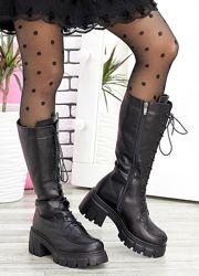 Ботинки высокие кожа женские на шнуровке европейка или байка 7596-28