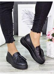 Туфли лоферы черная кожа 7279-28, 6674-28