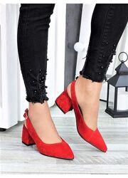 Туфли черная, красная замша Molly 7321-28, 7415-28