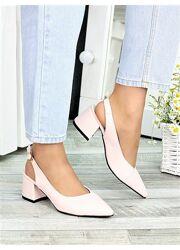 Туфли женские пудра, красные кожа Molly 7412-28, 7417-28