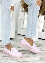 Туфли лоферы женские пудра кожа 7681-28