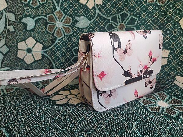 Белая женская сумочка клатч с принтом. Сумочка з довгою ручкою для дівчини