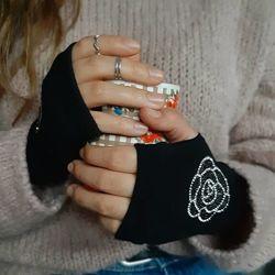 Перчатки-митенки с разным принтом теплые, вискоза и лана