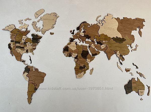Деревянная многоуровневая карта Мира 3D на стену