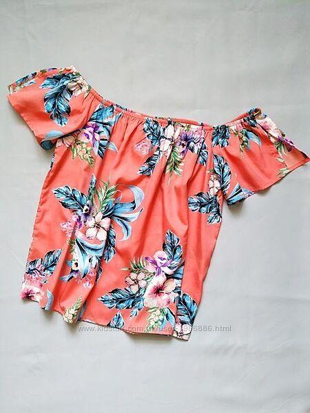Новая летняя блуза на коротком рукаве яркая с цветами коралловая primark L