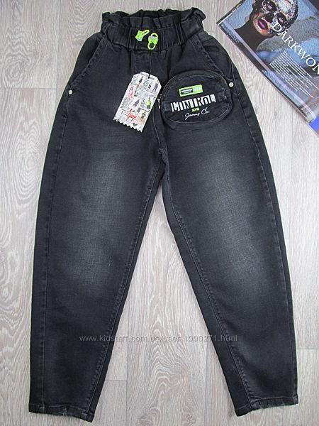 Черные вареные джинсы слоучи для девочки. 140-170рр. Турция .