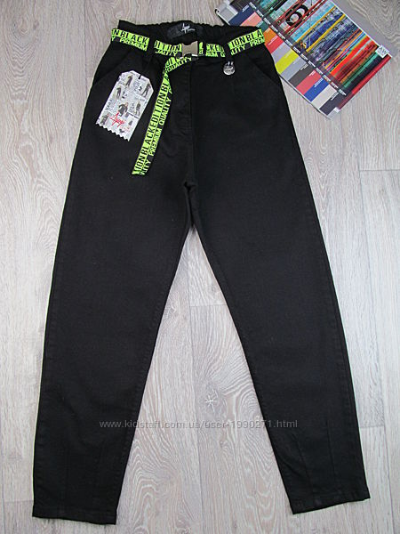 Черные джинсы слоучи для девочки. 140-170р. Турция.