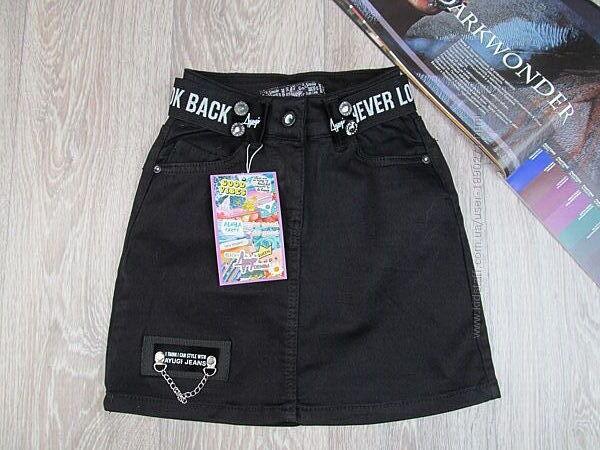Стильная джинсовая юбка для девочки. 134, 140р. Турция.