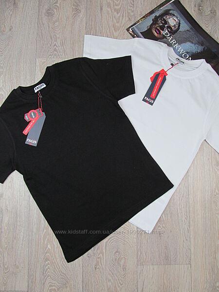 Базовая футболка белая, черная . Мальчик, девочка. 140-176 р. Турция.