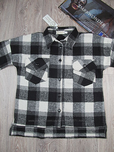 Теплая рубашка оверсайз для девочки. 140-158р.