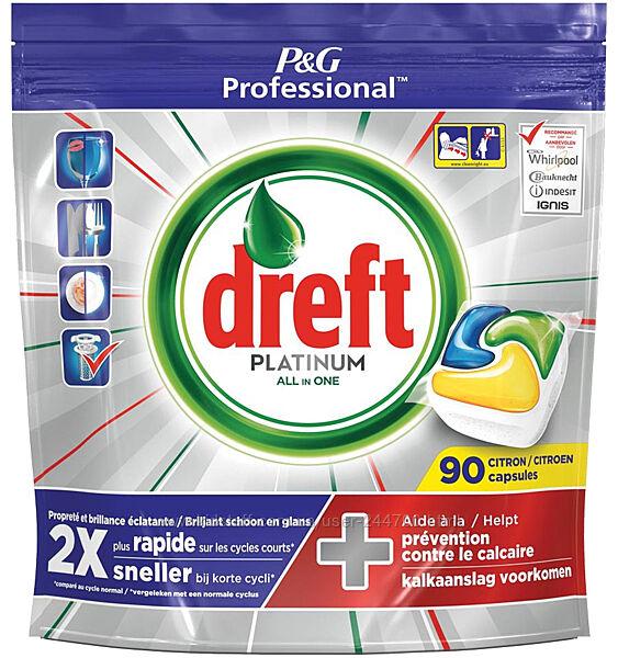 Капсулы для посудомойки Dreft Platinum All in One citron 90 шт. Профессионал
