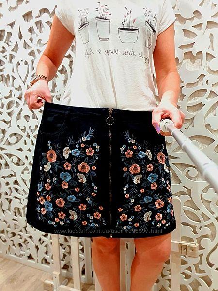 Эксклюзивная Юбка XL 2XL женская джинсовая с вышивкой zara escada desigual