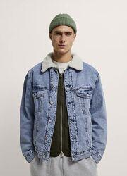 Джинсовый пиджак с искусственным мехом zara