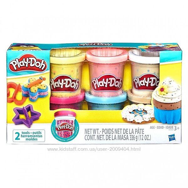 Набор для творчества Hasbro Play-Doh 6 баночек с конфетти B3423