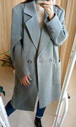 Шикарное серое шерстяное пальто с кашемиром