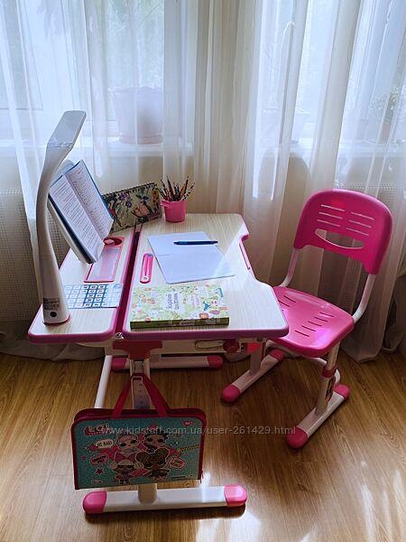 Fun Desk - растущая парта  стул для школьника Италия Lavoro Pink,  аксы