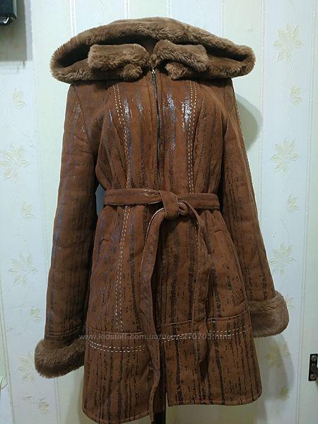 Шикарная теплющая дублёнка. размер 46.