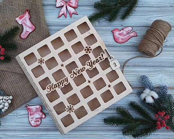 Деревянная книга, коробка для пряников, новогодняя коробка, адвент-книга