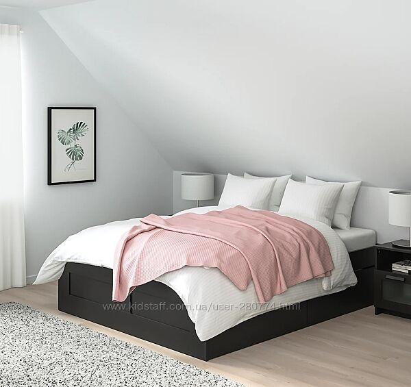 BRIMNES ліжко з відділом д/зберігання, чорний 160x200 см